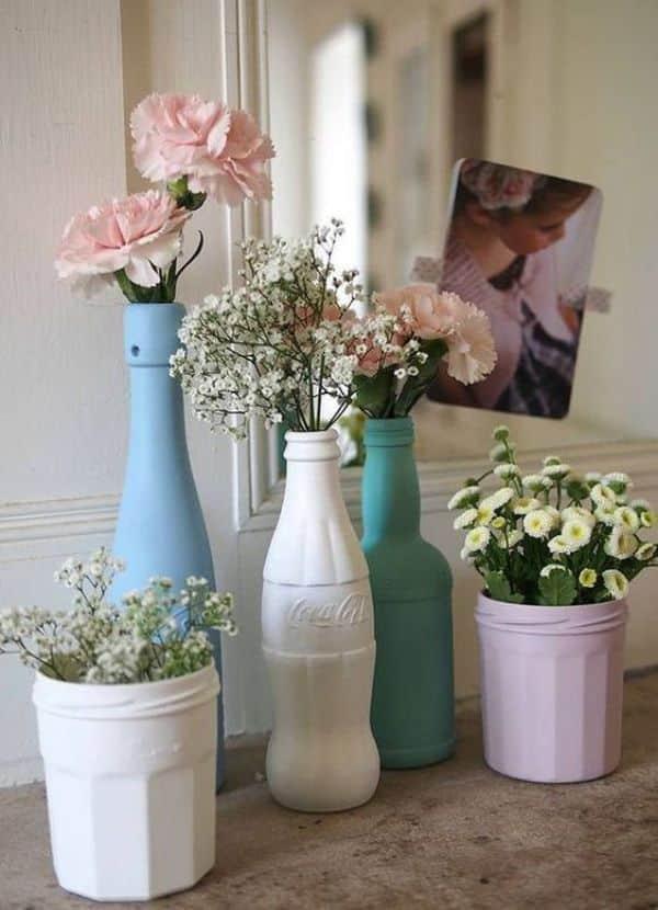 Floreros de botellas plasticas sencillos