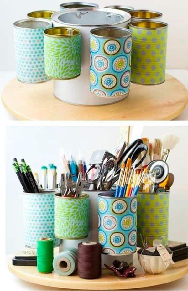 Manualidades para guardar lapices con latas