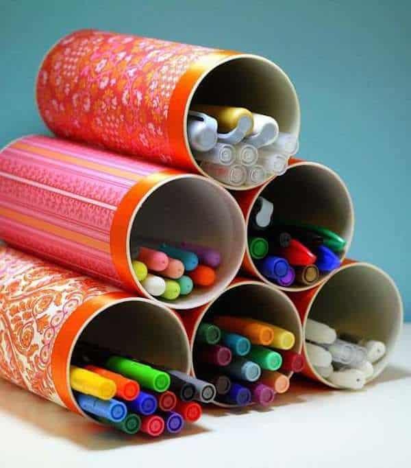 Manualidades para guardar lapices con tubos de carton