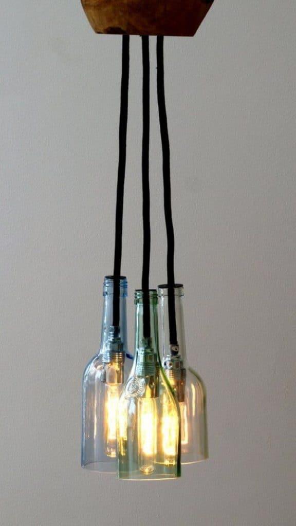 lamparas colgantes hechas a mano con botellas
