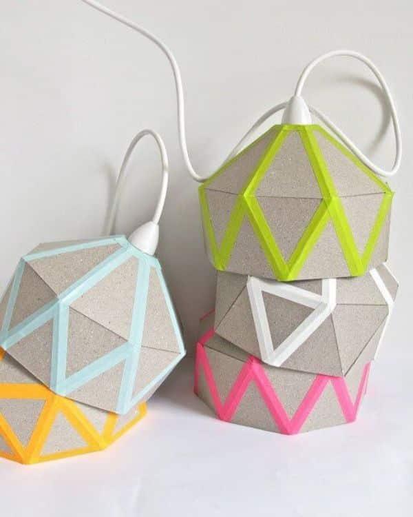 lamparas colgantes hechas a mano con carton