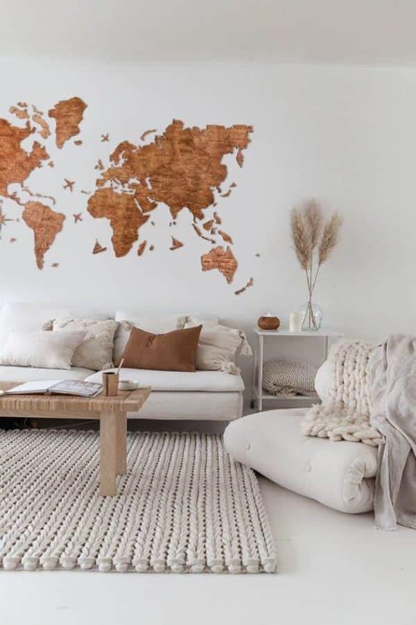 mapas de madera para pared en la sala