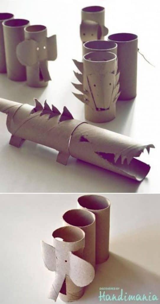 animales hechos con rollos de papel sencillos