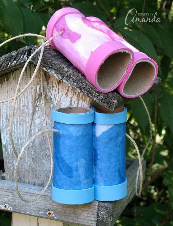 binoculares con tubos de papel higienico para jugar