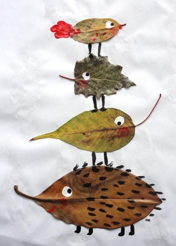 manualidades con hojas de otoño para niños