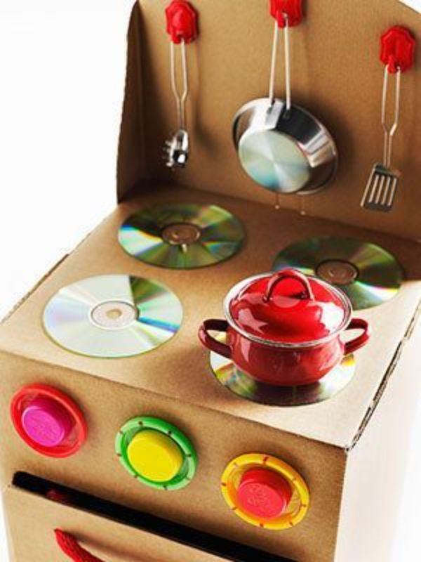 como hacer electrodomésticos de cartón para niños