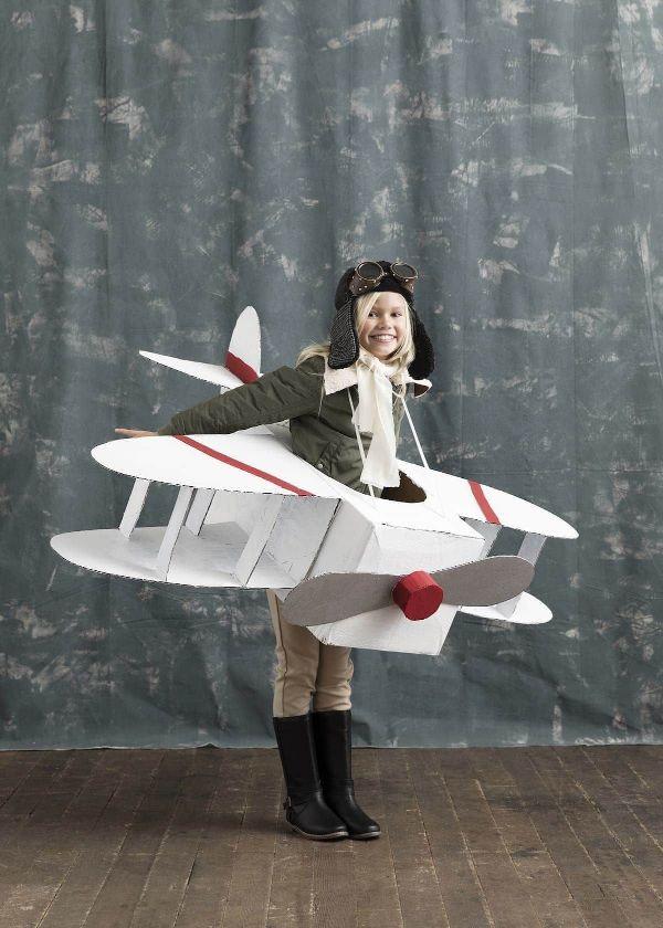 como hacer una avion de carton disfraz