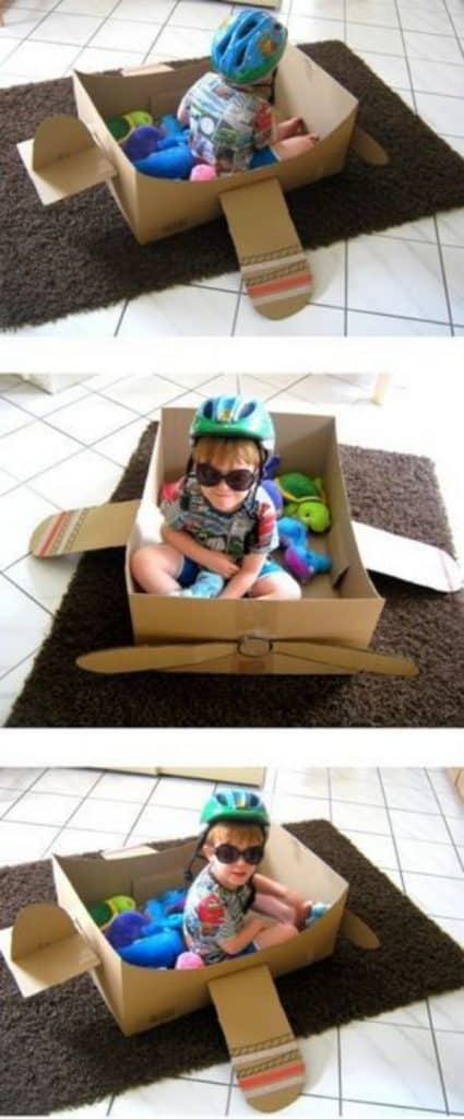 como hacer una avion de carton para niños
