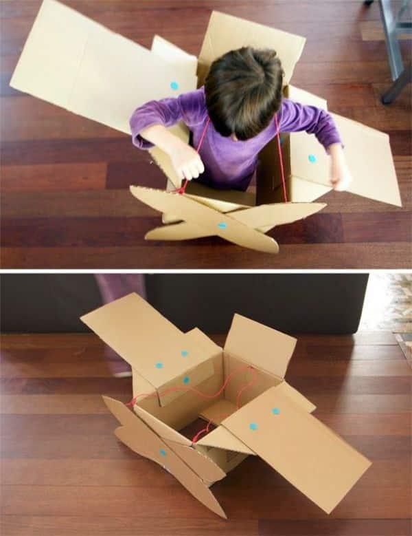 como hacer una avion de carton sencillos