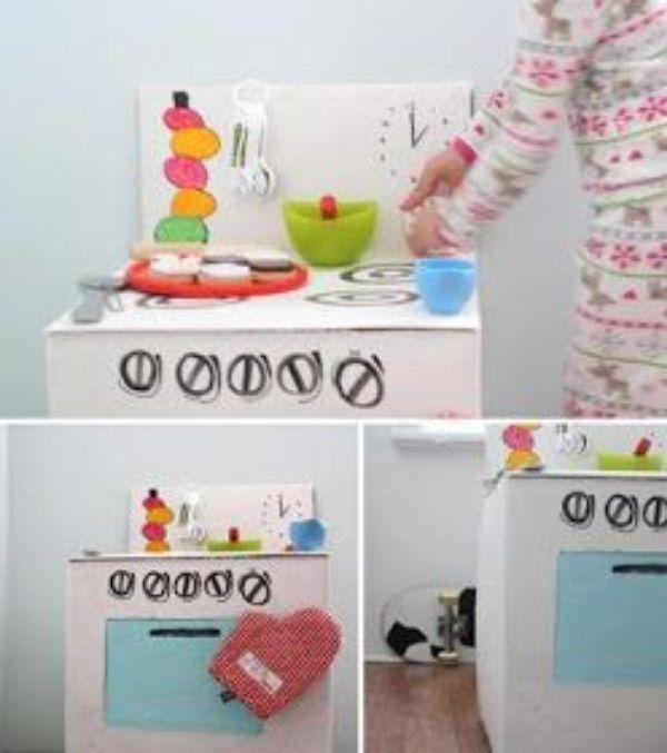 como hacer una cocinita de carton ideas