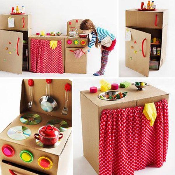 como hacer una cocinita de carton para niños simple