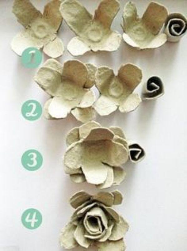 flores con cubetas de huevos sencillas