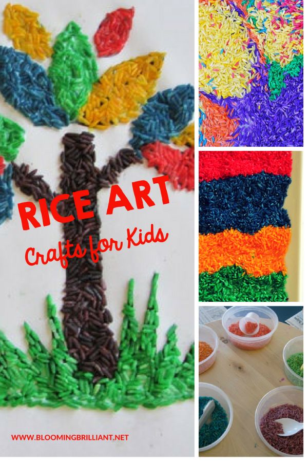 manualidades con arroz de colores ideas