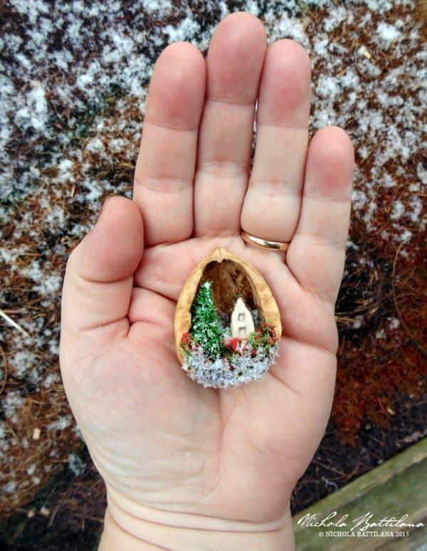 manualidades con cascaras de nuez navidad