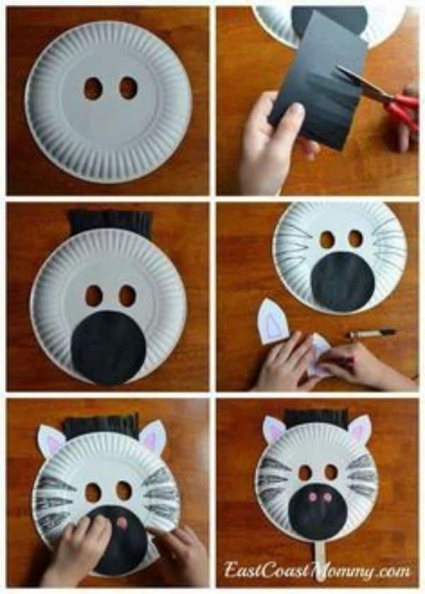 mascaras con platos desechables divertidas