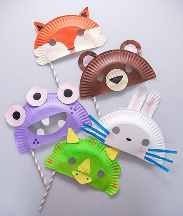 mascaras con platos desechables para hacer en casa