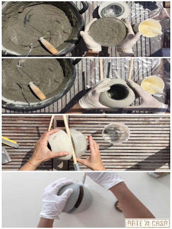 manualidades con cemento y arena