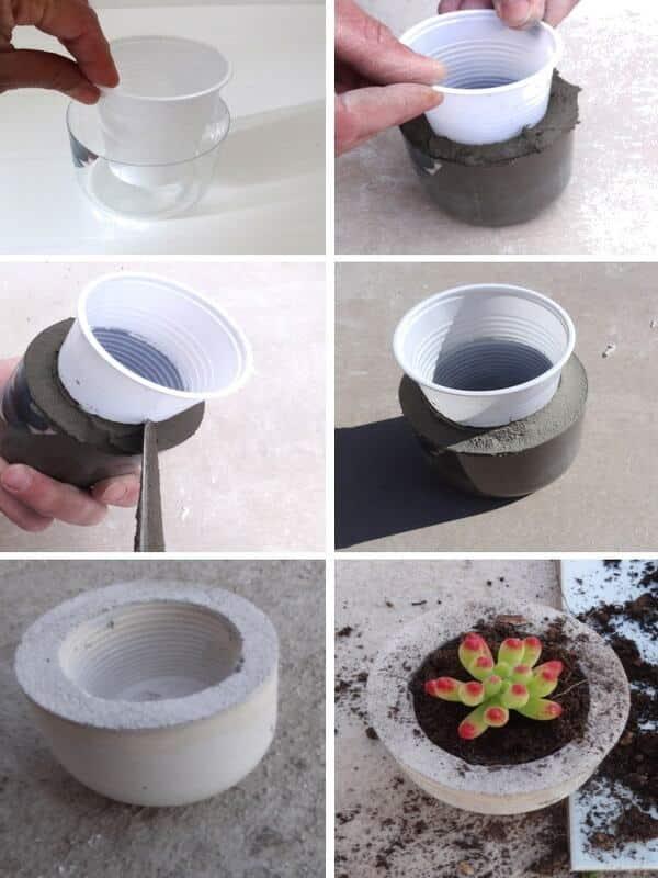 manualidades con cemento y arena para el jardín