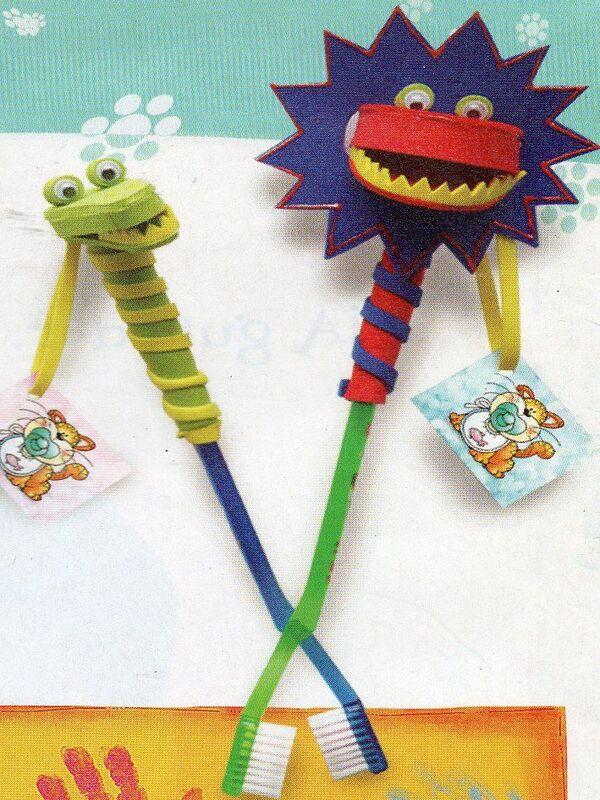 manualidades con cepillos  de dientes