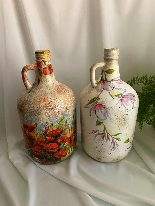 manualidades con damajuanas de vidrio pintadas