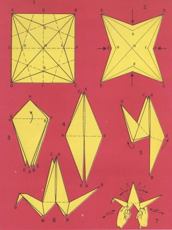 manualidades con dobleces de papel garzas