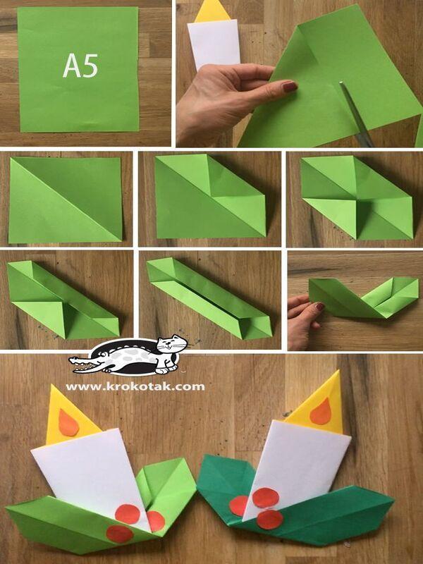 manualidades con dobleces de papel veladora