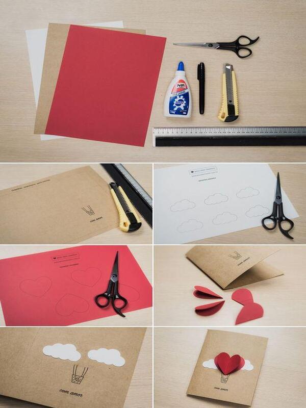 tarjetas de papel hechas a mano para san valentin